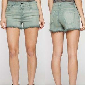 Blank NYC Frayed Green Shorts